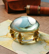 Shiny Brass Desk Magnifying Glass Paper Weight  Antique Style Item For office