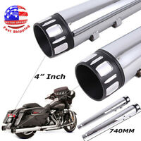 """4"""" Megaphone Exhaust Pipes Mufflers Slip-On For Harley Electra Glide Road King"""