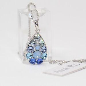 "AVA RO Sterling Silver Blue Swarovski Crystal Teardrop Pendant Necklace 18"""