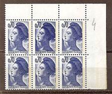 Sabine n° 2240a - double frappe - re-entry - bloc de 6