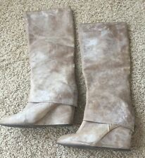 STEVEN by Steve Madden Leather Suede Beige Shoes Heels Boots Booties 9.5