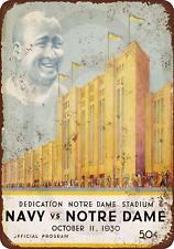 "1930 Dedication Notre Dame Stadium Navy Vintage Rustic Retro Metal Sign 8"" x 12"""