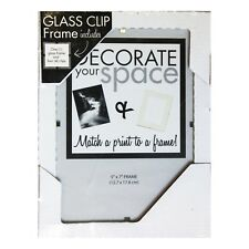 """NOTEWORTHY* 5""""x7"""" Frameless GLASS CLIP PICTURE FRAME Holds 5x7 Photo HOME DECOR"""