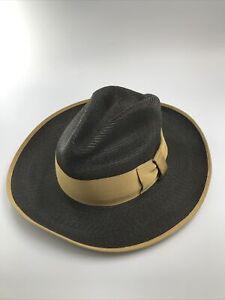 Men's Genuine Hemp Milan Imported Braid Dark Gray & Beige Hat