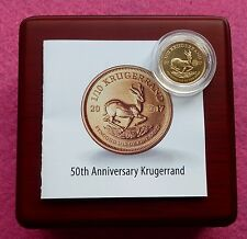 2017 GOLD KRUGERRAND 50th ANN. RIGHT HAND PRIVY MARK 1/10th oz BU COIN BOX + COA