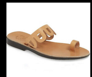 Jerusalem Aja tan leather flat sandals size 39