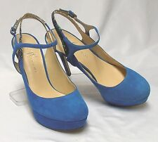 IVANKA TRUMP Taran Size 7.5-8 Blue Suede Leather Snake XHigh-Heel Platform Pumps