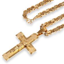 Edelstahl Königs Panzer Kette 2705 Kreuz Jesus Anhänger Massiv 55 Gold Vergoldet