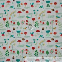 BonEful Fabric FQ Cotton Quilt White Red Mushroom Blue Bird Small Little Flower