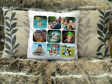 "LOVELY PERSONALISED CUSHION COVER 16""x16""  PHOTO COLLAGE BIRTHDAY PRESENT GIFT"