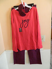 NWT Gap Body girls red & navy 3pc PJ's set; red top; red/navy pants; mask; M