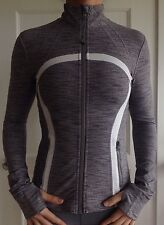 LULULEMON SIZE 4 Gray White WEE STRIPE DEFINE Jacket Zip Up EUC Rare coat