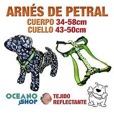ARNÉS PETRAL VERDE TEJIDO REFLECTANTE AJUSTABLE PERRO CUERPO 34-58cm L79 3371