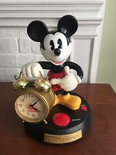 Vintage~~Disney Mickey Mouse Animated Talking Alarm Clock Battery Operated