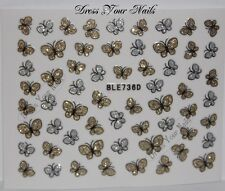 Nail Stickers Butterfly Silver + Gold Glitter Self Adhesive DIY  Art  Bling -UK