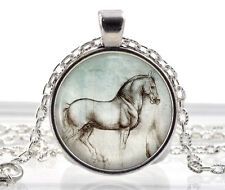 Leonardo da Vinci Horse Necklace Pendant - Silver Jewelry - Animal Art Drawing