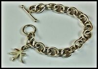 Vintage Wide Link 925 Sterling Silver Charm Toggle Bracelet Signed P.R.X. Italy