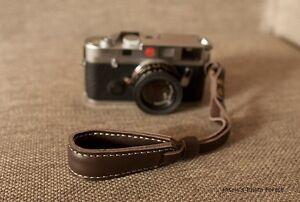 Handmade Real Leather wrist camera strap for film camera EVIL camera Dark Brown