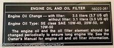 KAWASAKI Z650 KZ650 Z650B SR650 ENGINE OIL AND OIL FILTER CAUTION WARNING DECAL