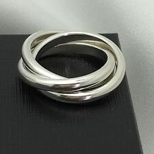 Tiffany Multi 3 Band Interlocking Calife Rolling Ring Size 6