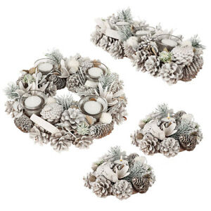 Natural Pine Cone Tea Light Candle Holders Christmas Dining Table Centrepiece