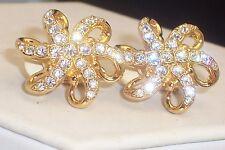 Signed Swarovski Gold Tone Brilliant Crystal Rhinestone Pin Wheel Clip Earrings