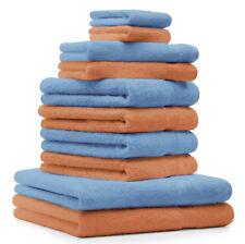 """Lot de 10 serviettes """"Premium"""" orange et bleu clair, 2 serviettes de bain, 4 ser"""