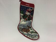 """Tapestry Christmas Stocking Needlepoint Snow Man Deer  19"""" Completed Jimmy"""