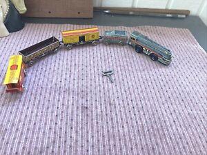 VINTAGE MARX MARLINES WIND UP TRAIN SET ENGINE 376 TIN LITHO with CARS