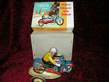 Vintage MS-709 Windup TIN TOY MOTORCYCLE with SIDECAR From China 1970's