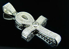 White Gold Finish Sterling Silver Ankh Lab Diamond Cross Charm Pendant