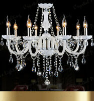 Genuine K9 Crystal Chandelier WHITE 6, 8, 10 Arm Candle Water Droplet