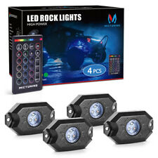 MICTUNING 4Pod RGB LED Rock Lights Offroad Underglow Neon Lamp Remote Control