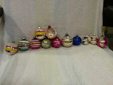 VINTAGE MERCURY GLASS CHRISTMAS ORNAMENTS (MIXED LOT OF 12) Stenciled mica