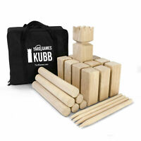YardGames Kubb Premium Wooden Game Set with Canvas Transport & Storage Bag