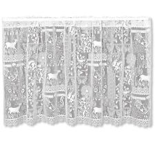 """White Woodland Patch Nature Country Lace Wilderness Window Cafe Tier 60""""x30"""""""