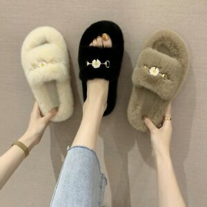 Lady Winter House Slippers Faux Fur Warm Soft Home Casual Flat Shoes Winter Room