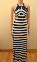 New Next Navy Blue White & Yellow Jersey Stripe Side Split Maxi Dress Sz UK 10