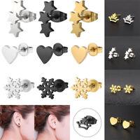 Punk Men Women Unisex Gold Silver Black Stainless Steel Piercing Stud Earrings