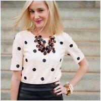 J. CREW XS Sequin Top Polka Dot Blouse Short Sleeve Tee Shirt White Cream Black