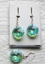 Silber Ohrhänger Fishhawk Kristall  rundesl Unterteil Farbe blau-grün schimmernd