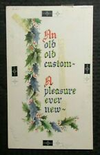 "MERRY CHRISTMAS An Old Custom w/ Holly 7x12"" Greeting Card Art #181"