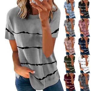 Women Loose Cotton Top Stripe Ladies Summer T-Shirts Blouse Plus Size Shirts UK