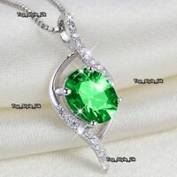 Xmas Women Gifts for Her Silver & Emerald Necklace Girlfriend Wife Mother J398A