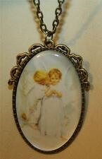 Lovely Ribbon Topped Large Kissing Angels Epoxy Oval Brasstone Pendant Necklace