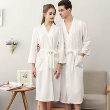 5bc137c8ec6b3 Womens MENS Cotton Night Robe Sleepwear Waffle Bathrobe Spa Shower Robe  Loose