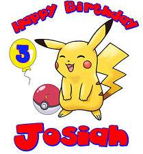 Pikachu Pokemon Custom Tshirt Personalize birthday gift Tee