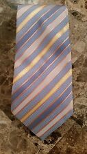 Ermenegildo Zegna Italien 100% Soie à Rayures Cravate Cravate Bleu Jaune Orangé