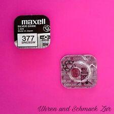 1x Maxell 377 Uhren Batterie Knopfzelle SR626SW AG4 Silberoxid Blisterware Neu