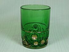 Riverside Esther Emerald Green Glass Tumbler Gold Accents 1850 - 1910 EAPG